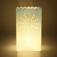 10Pcs White Candle Paper Bag Lantern Tealight Holder Xmas Wedding Party Decor