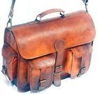 Laptop Bag Briefcase Handmade Men's Leather Vintage Brown Messenger Shoulder JMB