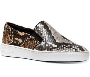 NIB Size 7.5 Michael Kors Women's KEATON Sneakers Embossed Leather Natural Multi