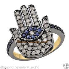 Hand Of God Hamsa Ring Jewelry Vintage 1.05cts Rose Cut Diamond Sapphire Silver