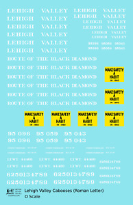 K4 O Decals Lehigh Valley Caboose White Route Of the Black Diamond