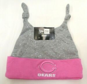 Chicago Bears New Era Infant Girl's Double Bunny Knit Beanie Pink Sparkles