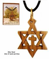 Olive wood Jewish star of David with cross messianic pendant necklace NEW