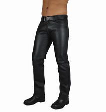 AW741 Jeans leather trousers with double Slider,Jeans lederhose Gay Pantalon 28W