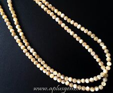 Natural Mother of Pearl shell 4mm Round Beads beige brown
