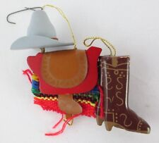 """Western Cowboy Gear Christmas Tree Ornament Hat, Saddle & Boots 3.75"""" Tall"""