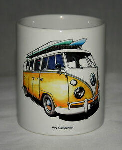 Classic Car Mug. VW Campervan hand drawn illustration.