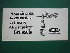 6/1977 PUB COMPAGNIESABENA BELGIAN WORLD AIRLINES BRUSSELS BRUXELLES ORIGINAL AD