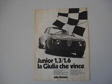 advertising Pubblicità 1972 ALFA ROMEO GIULIA GT GTA JUNIOR 1.3/ 1.6