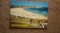OLD AUSTRALIAN POSTCARD 1980s, BONDI BEACH NSW, VIEW OF THE BEACH