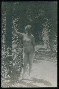 French ? full nude woman naturist original c1910-1920s photo postcard