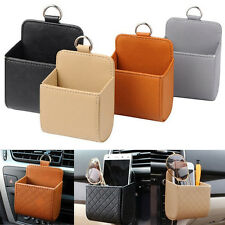 Durable PU Leather Car Outlet Air Vent Trash Case Cell Phone Holder Bag Pouch