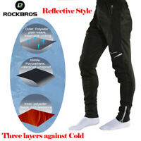 ROCKBROS Men Cycling Pants Thermal Fleece Sportswear Reflective Trousers Black