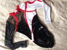 justaucorps noir, blanc et rouge moreau en velours, lycra et voile 14ans