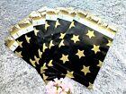 100 Pcs - Designer Printed Poly Mailers 10X13 Shipping Envelope BLACK GOLD STARS