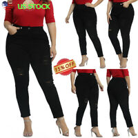 Plus Size Womens Ripped Jeans Lady High Waist Skinny Denim Pencil Pants Trousers