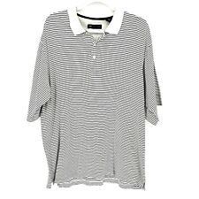 Wedge Golf & Beyond Mens Size L White Black 100% Cotton Striped Polo Shirt Top