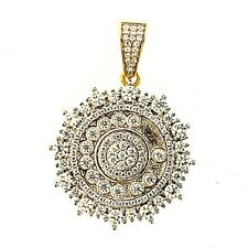 14K Gold Plated 925 Sterling Silver CZ Iced Stn. Hip Hop Charm Pendant For Men