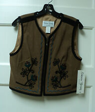 """UNUSUAL SHARON YOUNG EMBROIDERED """"MOLESKIN"""" VEST, SIZE SMALL - NWT"""