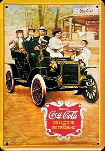 Coca Cola antique Car Blechpostkarte Blechschild Metal Tin Card Sign 10 x 14 cm