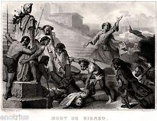 Roma: Morte di Cola di Rienzo, Tribuno del Popolo. Acciaio. Stampa Antica. 1840