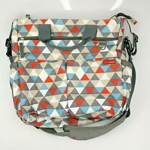 Skip Hop Duo Signature Triangles Baby Diaper Bag Multi Color W/ Changing Mat
