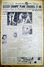 1958 newspaper MANCHESTER UNITED SOCCER team PLANE CRASH DISASTER Munich GERMANY