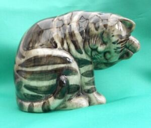 Quail Ceramic pottery Dark Grey striped Cat called Byron - Last few in stock