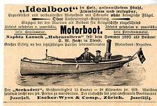 """Escher- Wyss & Comp. Zürich MOTORBOOT """"SEEKADETT""""  Historische Reklame von 1899"""
