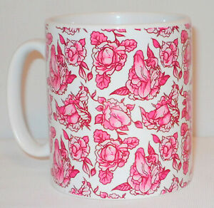Pink Floral Penis Pattern Mug Funny Willy Cock Girlfriend Boyfriend Lover Gift