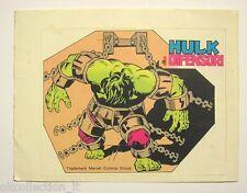 VECCHIO ADESIVO ORIGINALE / Old Sticker Vintage HULK MARVEL Corno (cm 13 x 10)