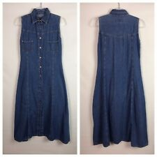 VTG Speed Control Womens Dress Size 11/12 Blue Button Denim Maxi Western Boho