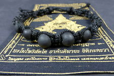 Buddha 'MALA BEAD' Blessed ALL BLACK BRACELET REAL LEK NAM PEE THAI MAGIC STEEL