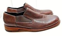 Cole Haan Brown Leather Slip On Loafer Plain Toe Elastic Casual Men's Shoes 11M