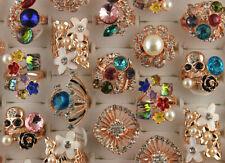 Wholesale Lots 45pcs Rose Gold P Rhinestone Glass Enamel Ring Lady's Party Rings