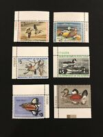 6 Duck Stamps, Nice Mint Never Hinged RW39, RW40,41,43,45,48 with Plate Numbers