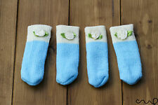 4 x blue & white chaise Mobilier Table Chaussettes pied jambe manches Couvre Protecteur