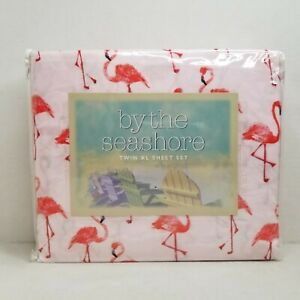"""PINK FLAMINGOS TWIN XL SHEET SET  """"by the seashore"""" 1 FITTED 1 FLAT 1 STD PILLOW"""