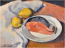 Stillleben mit Lachs und Zitrone undeutlich signiert