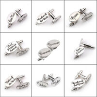 Silver Mens Wedding Cufflinks Groom Bride Father Best Man Page Boy Son Cuff Link