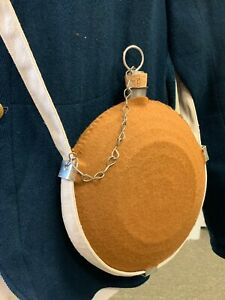 Civil War, U.S. Army issue Bullseye Canteen w/ Tan Wool cover, cotton sling NEW