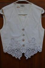 Valentino Boutique White Lace Trimmed Button Down Vest Blouse Size 8