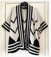 Jaeger Cardigan 100 % Wool Sz S/M Wrap Open Front Cream & Black Chevron Striped