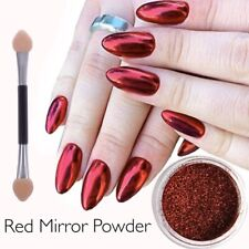 Red Mirror Nail Art Powder Chrome Platinum Shimmer Christmas Gift Dust Pigment