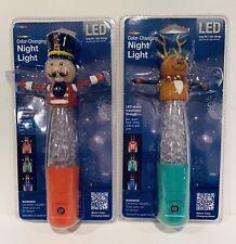 2 Color-Changing LED Night Lights w/ Sensor Reindeer & NutcrackerJasco Holiday