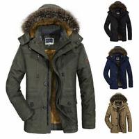 Winter Men's Cotton Coat Thicken Warm Hooded Parka Fur Jacket Outwear