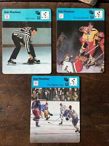 THE STANLEY CUP  1977 SPORTSCASTER Card  + Equipment & Hat Trick Cards