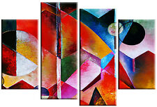 LARGE ABSTRACT PAINTING CANVAS PICTURE SPLIT MULTI PANEL MULTI COLOUR 100cm wide