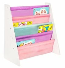LIVIVO  Childrens Colourful Sling Storage Bookshelf  Easy Access Wooden Book R