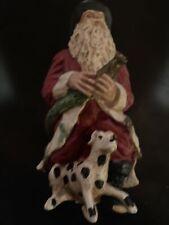 Wood World Santa Fireman And Dalmation Figurine